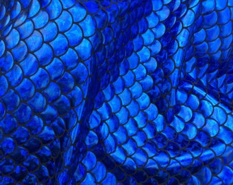"""NEW Brilliant Blue Mermaid Scales 3/4"""" inch, 60"""" inch fabric, sold by the yard"""