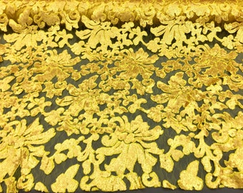 """Sunshine Yellow Sequin Beyonce Lace, 54"""" inch, sold by the yard"""