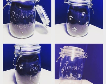 Dog treat jar, doggy biscuit jar, biscuit barrel, dog jar, cookie jar, treat jar, hand engraved glass jar, puppy biscuits, puppy treats jar