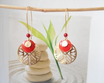 Red sequin gold earrings
