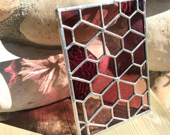 Handmade Stained Glass Geometric Flower Mini Panel