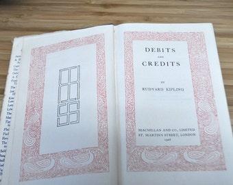 Vintage Kipling Book. Debits and Credits by Rudyard Kipling. Vintage Book 1926. Hardcover with dust cover.
