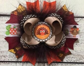 Thanksgiving Hair Bow Fall Hair Bow Turkey Boutique Hair Bow Thanksgiving Hair Bow Fall Hair Bow Turkey Hair Bow