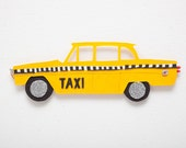 New York taxi papercut art // Christmas gift - personalized gift - handmade - New York souvenir - taxi picture - mixed media collage