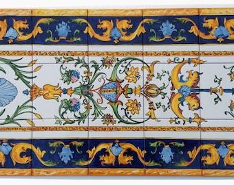 Hand Painted Decorative Bathroom Tiles, Italy Art, Ceramic Murals, Shower  Tiles, Flower