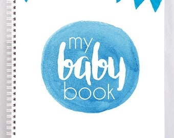 Baby Record Book - Boy - Blue Watercolour - Basic - DISCOUNTINUED! ON SALE!