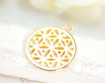 1x charm flower of life gold plated 20mm #4159
