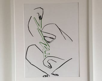 Original abstract drawing of a sloth with vine