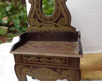 German antique Boulle furniture with original mirror dated about 1890 made by Kestner for antique doll Mignonette dollhouse