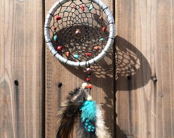 Boho Dreamcatcher -  Brown & Turquoise Feather Silver Dream Catcher