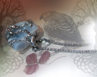 Blue song - raw blue calcite pendant. throat  chackra pendant, healing blue calcite pendant amulet, throat chackra amulet