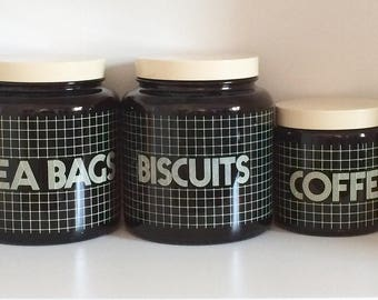 Set of 6 canisters storage jars by CLP England Brown glass biscuit flour tea bags coffee tea sugar 1980s