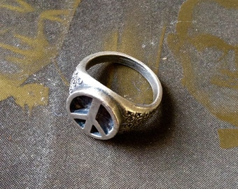 Origional 1970s Artisan Made Pewter Peace Ring