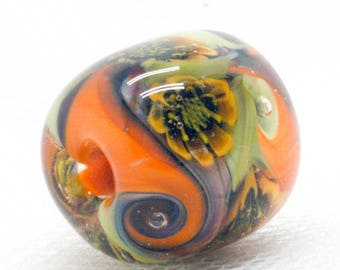 Flower Jewelry - Big hole beads - Glass Charm Bead - Artisan Beads - Lampwork Focal Bead - Glass Beads - Lampwork Beads - Glass Bead Jewelry