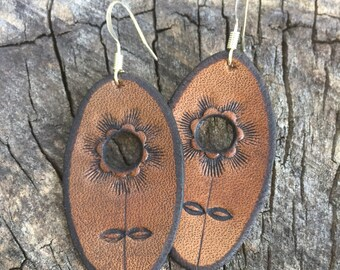 Brown Stamped Earrings