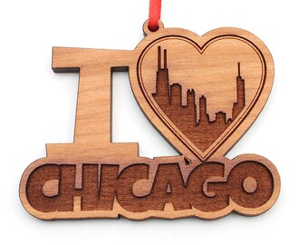 I Heart Chicago - Chicago Love Christmas Ornament - Heart my City Collection