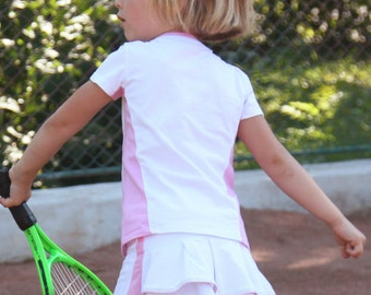 Girls Tennis Top and Skirt White Pink Dominika | Girls Tennis Clothes | Junior Tennis Apparel