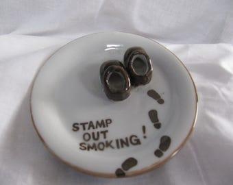 Vintage Ashtray, Brown Shoes, Stamp Out Smoking Ashtray, Funny Ashtray, Ceramic Ashtray, Retro Novelty Ashtray