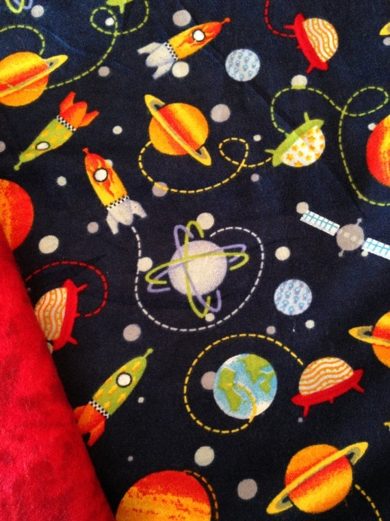 Outer space rocket weighted blanket ready to ship 345 for Outer space themed fabric