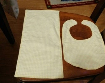 Yellow gingham checked bib and burp cloth set