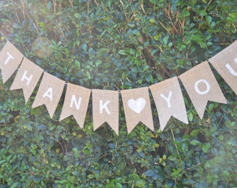 THANK YOU Burlap Bunting Rustic Wedding Decoration, Engagement Party, Thank You Cards