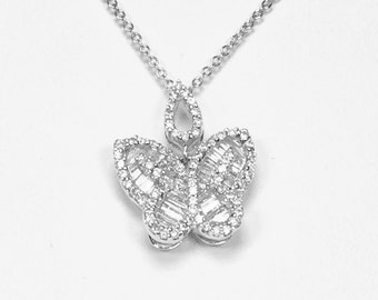 18K white gold diamond butterfly pendent with 14k white gold chain