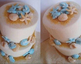 12-24pcs Big Seashell Starfish Sea Beach Shell Mermaid Edible gumpaste wedding party cake edible decoration topper arrangement