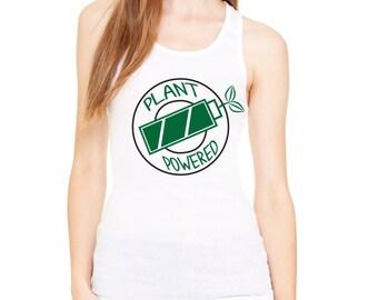 Vegan Plant Powered Hooper Funny workout Womens Humorous Womens Workout Tanktop Racerback Graphic Screenprint