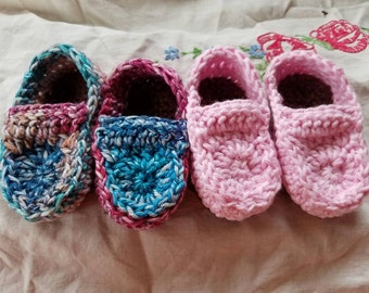 Cute baby loafers. 100% cotton baby booties.