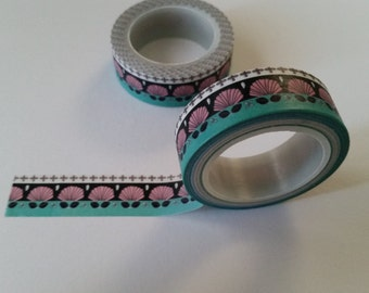 Pink and teal seashell Washi Tape