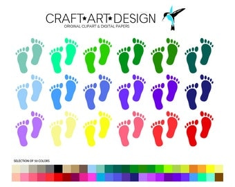 Little Footprints Clipart. 50 Rainbow Colors. Baby Footprints Digital Design. Instant Download. Commercial Permitted.
