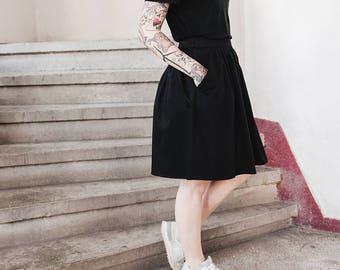 Black Cotton Skirt, High Waist Black Skirt, Gathered Black Skirt, Skirt With Pockets, Short Black Skirt, Womens Skirt, Versatile Skirt