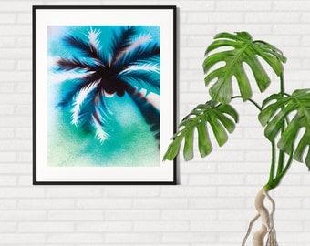SALE !! Printable Palm Tree Art, Palm Art Printable, Stencil Art, Spraypaint Art, Tropical Wall Art, Beach Decor, Palm Tree Printable