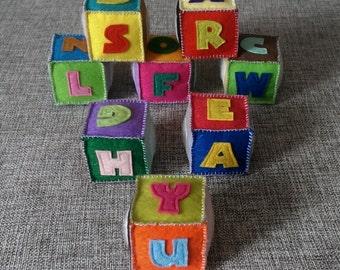 Set of 8 soft ABC blocks. Stuffed Felt Alphabet Felt English alphabet, Felt Letters Colorful,Handmade Alphabet, Educational Toy, Gift