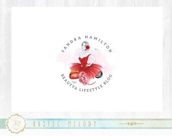 Girl Party Logo ,Girl Logo, Fashion Logo, Dress Logo ,Boutique Logo, Princess Logo ,Watermark ,Photography Logo