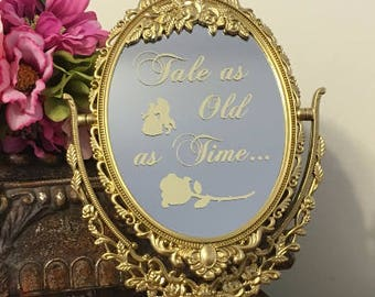 Tale as old as time mirror sign/Disney mirror sign/Beauty and the Beast welcome mirror sign