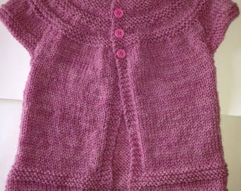 Hand knitted short sleeve cardigan 1-2 years