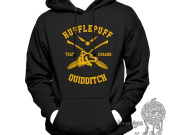 CHASER - Huffle Quidditch team Chaser Yelow print printed on Black Hoodie
