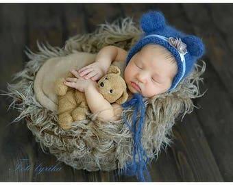 Newborn bear bonnet photography prop