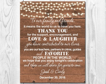 Thank You Wedding Sign Printable,Rustic Wedding Sign,Wood and String Lights Thank You Wedding Sign,Rustic Wedding Sign, WS013