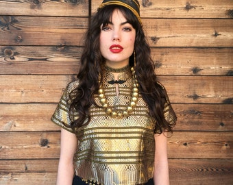 Vintage Thai Metallic Gold Boxy Crop Top