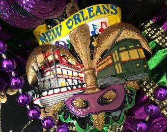 Mardi Gras Wreath, Mardi Gras Decor, New Orleans Wreath, New Orleans Decor,