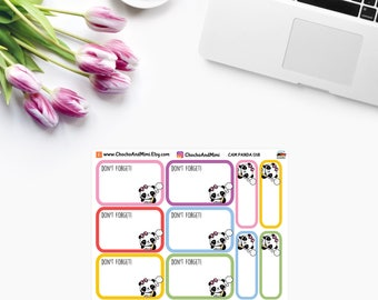 Amanda The Panda ~ Don't FORGET BOXES ~ Time Planner Stickers CAM Panda 018