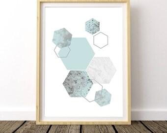 Mint Green, Geometric Print, Geometric Wall Art, Scandinavian Art, Scandinavian Modern, Scandinavian Decor, Scandinavian Poster, Mint Decor