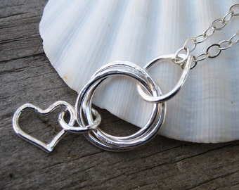 Mama metal / modular jewelry Loveknot intertwined circles fine silver centerpiece // made to order