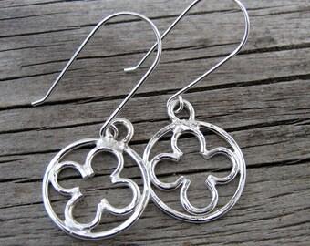 Abbey cross quatrefoil silver chandelier earrings // ready to ship
