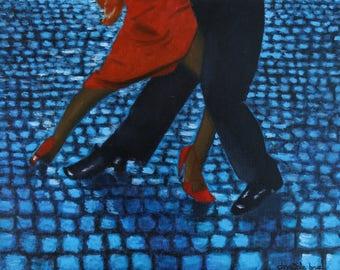 Peinture d'une scene de tango 'Los Milangueros' Huile sur toile montée sur chassis #Peinture #Huile #Originale #Danse #Tango #chassis #toile