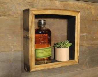 "10"" x 10"" - SQUARE - Bourbon Barrel Shadow-Box - Rustic Wall Art"