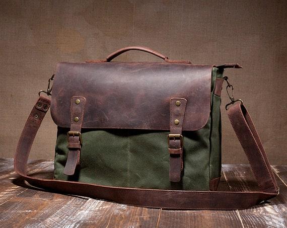 Mens Canvas Messenger Bag Leather Messenger Bag Laptop By