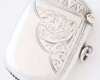 Edwardian Solid Silver Vesta Case 1908